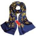 Animal Scarf Mens New Chinese Dragon 100% Silk Scarves for Men Satin Silk British Style Blue Designer Brand Double Faced Shawls