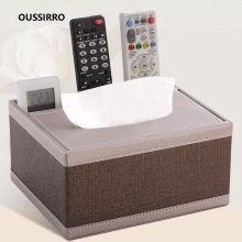 OUSSIRRO Fashion Tissue Box Multi functional Napkin Holder PU Leather Remote Controller Storage Desk Organizer