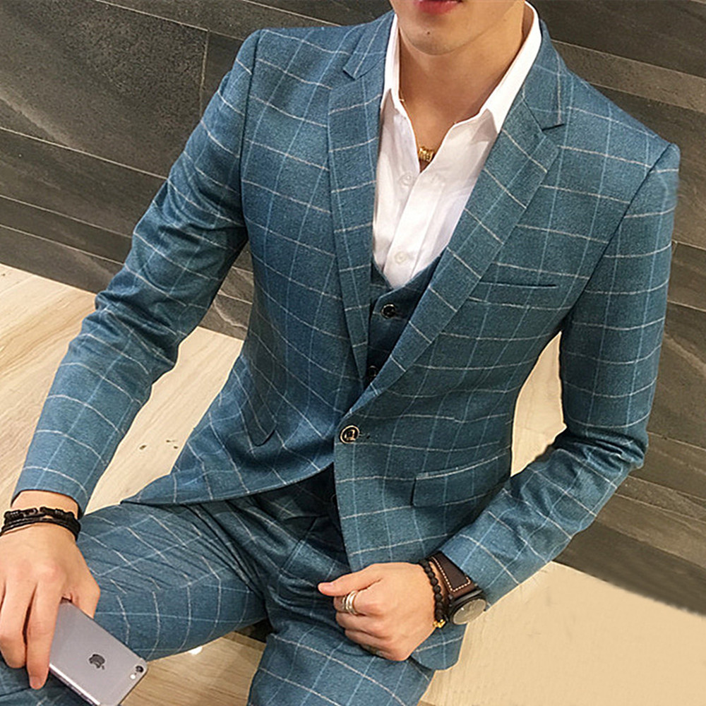 Wedding Gown For Men: Male Plaid Wedding Dress Custom Made Men's Suits Tailor
