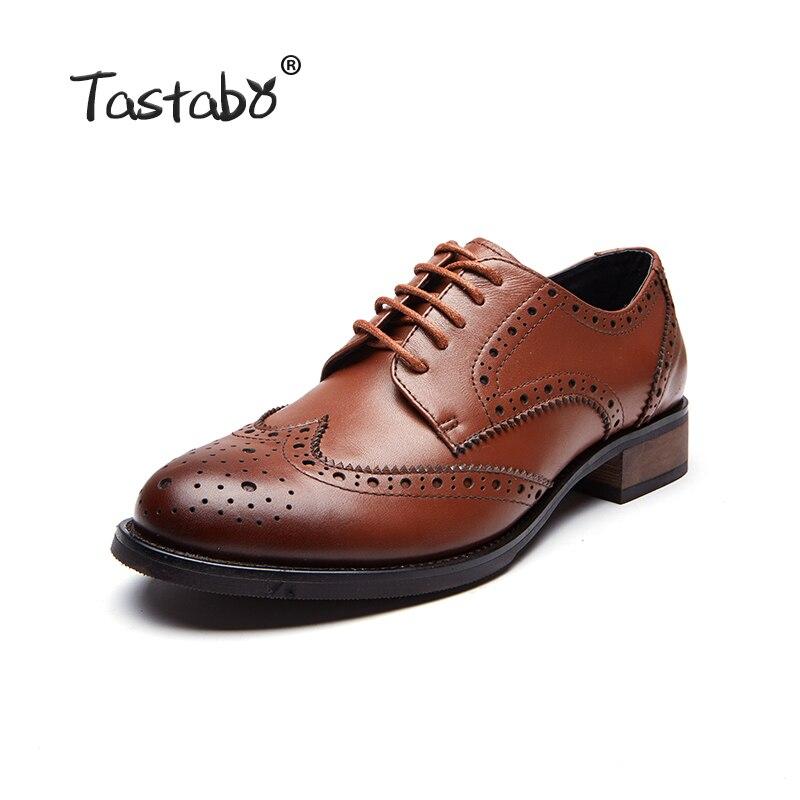 Tastabo Bullock scarpe In Pelle traspirante scarpe tacco di spessore delle donne delle donne di stile scarpe da uomo Britannico retro lace up scarpe Comode selvaggio-in Ballerine da donna da Scarpe su  Gruppo 2