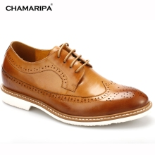 CHAMARIPA Increase Height 6.5cm/2.36 inch Men Elevator Shoe Brogue Oxfords Brown Gentlemen Height Increasing Shoes Hidden Taller