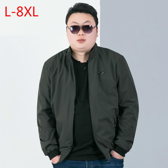 28a9769afa503 8XL 7XL Spring and autumn leisure jacket men add fertilizer to increase the  size of the fat collar jacket loose size thin jacket