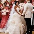Vestidos de Casamento de luxo 2017 Plus Size Puffy Contas Até O Chão Organza Cascading Ruffles Vestido de Casamento Vestido De Novia