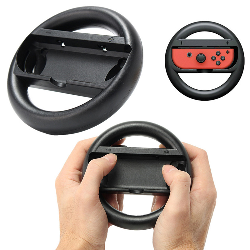 Купить с кэшбэком MarioKart 8 Deluxe 2 pcs NS Accessories Joy-Con Controller Joystick Grip Racing Game Steering Wheel Gamepad for Nintend Switch