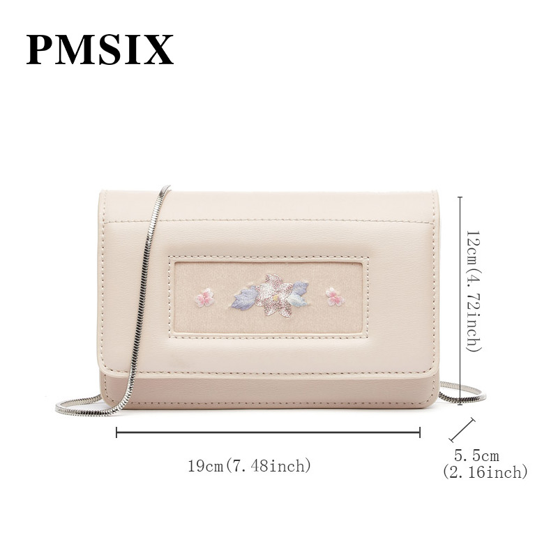 PMSIX Women Shoulder Bag 2019 Casual Embroidery Flowers Simple Long Straps Small Flaps Brand Designer Handbags for Women - 5