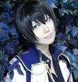 Conjunto ohcos estrellas sakuma ritsu honda kiku 12 pulgadas negro corto cosplay peluca de pelo sintético