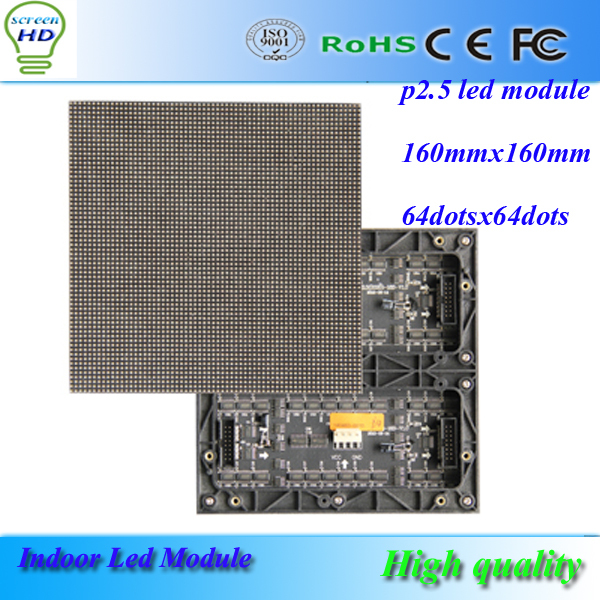 P2.5 SMD Indoor rgb led module 160mm*160mm 64*64pixels hub75 port 1/16 Scan drive full color high resolution video led screen