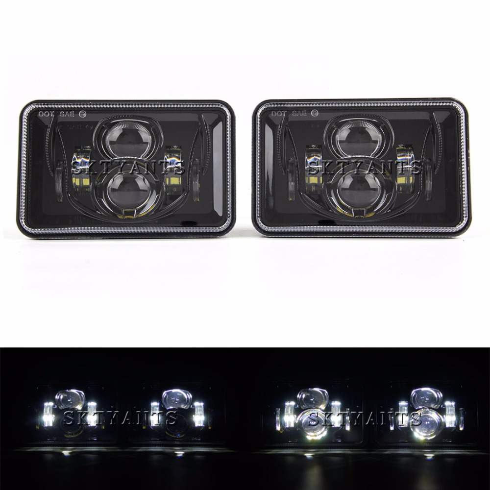 2 PCS Rectangular 4x6 inch LED Headlights 4 x 6 Sealed High Low Beam Assembly Replace