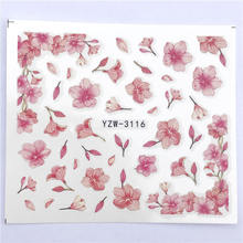 YWK 1 Sheet Pink Flower Water Transfer Slider for Manicure Nail Art Decoration Nail Sticker