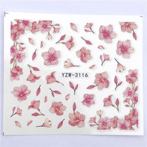 Image 3 - YWK 1 Sheet Pink Flower Water Transfer Slider for Manicure Nail Art Decoration Nail Sticker