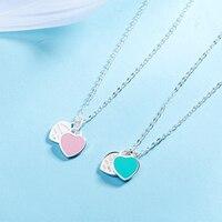 Подвеска «двойное сердце» из стерлингового серебра 925 пробы ожерелье синяя розовая цепочка с эмалевой подвеской ожерелье на шею лучший под...
