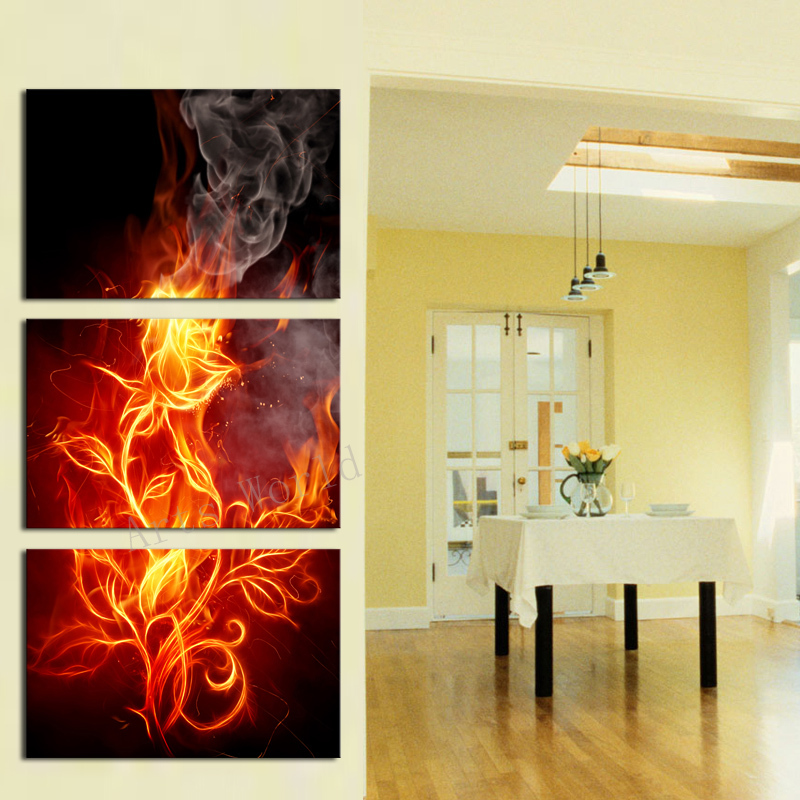 3 Pcs(No Frame)Wall Art Abstract Flower Modern Paintings for Living ...