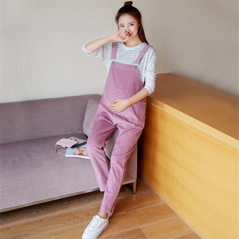 Women Large Size Suspender Trousers Maternity Clothing Pants Spring Autumn Pink Cotton Fashion Pants Plus Size Overalls Pregnant