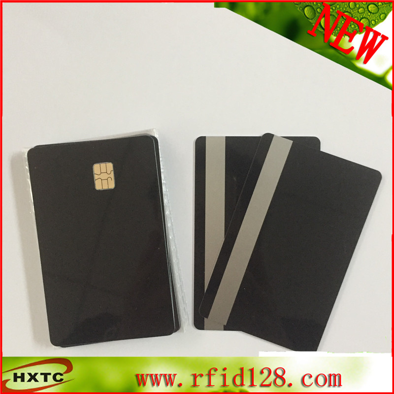 Free shipping Customized contact PVC blank SLE4442 chip black card with 2track 0.84mm magnetic stripe for bank traffic 20pcs lot contact sle4428 chip gold card with magnetic stripe pvc blank smart card purchase card 1k memory free shipping