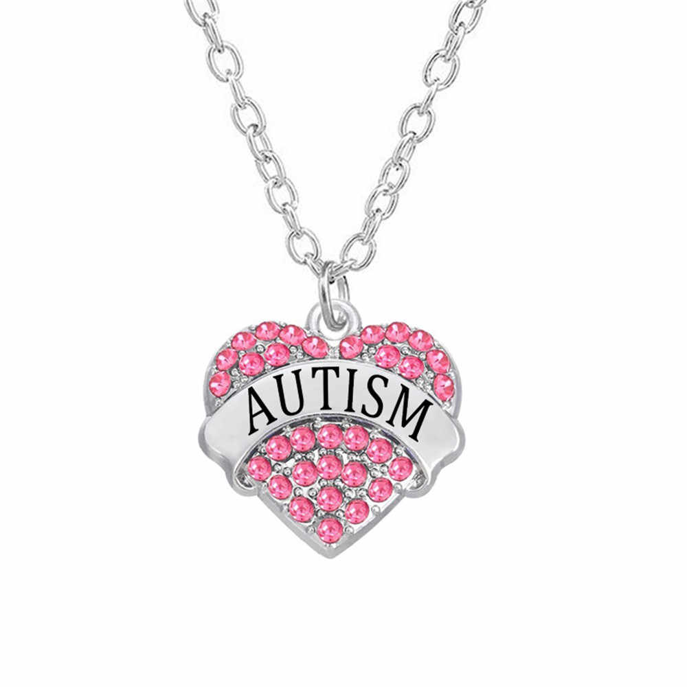 Wholesale Aliexpress Medical Alert Jewelry Heart Style Crystal Charms  Puzzle Piece Autism Necklaces