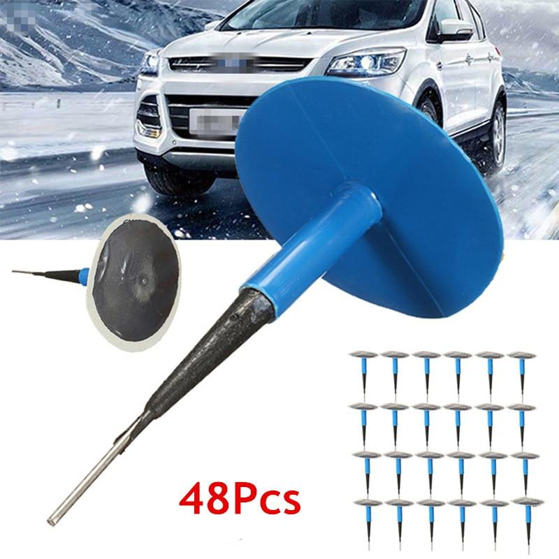 CARSUN 48 pièces/ensemble 6mm voiture camion pneu crevaison réparation Tubeless filaire prise champignon Kit Patch pneu prise intégrale S-605