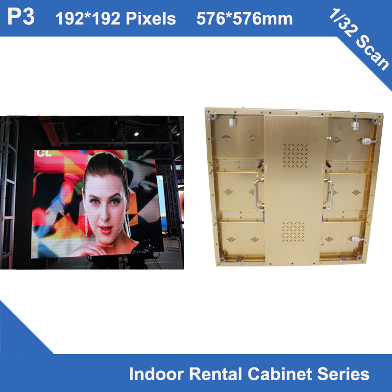 TEEHOP3 Indoor Golden Brushed Aluminum Cabinet 576mm*576mm 192x192 Dots 1/32 Scan,iron Cabinet,video Wall,videotron Rental Use