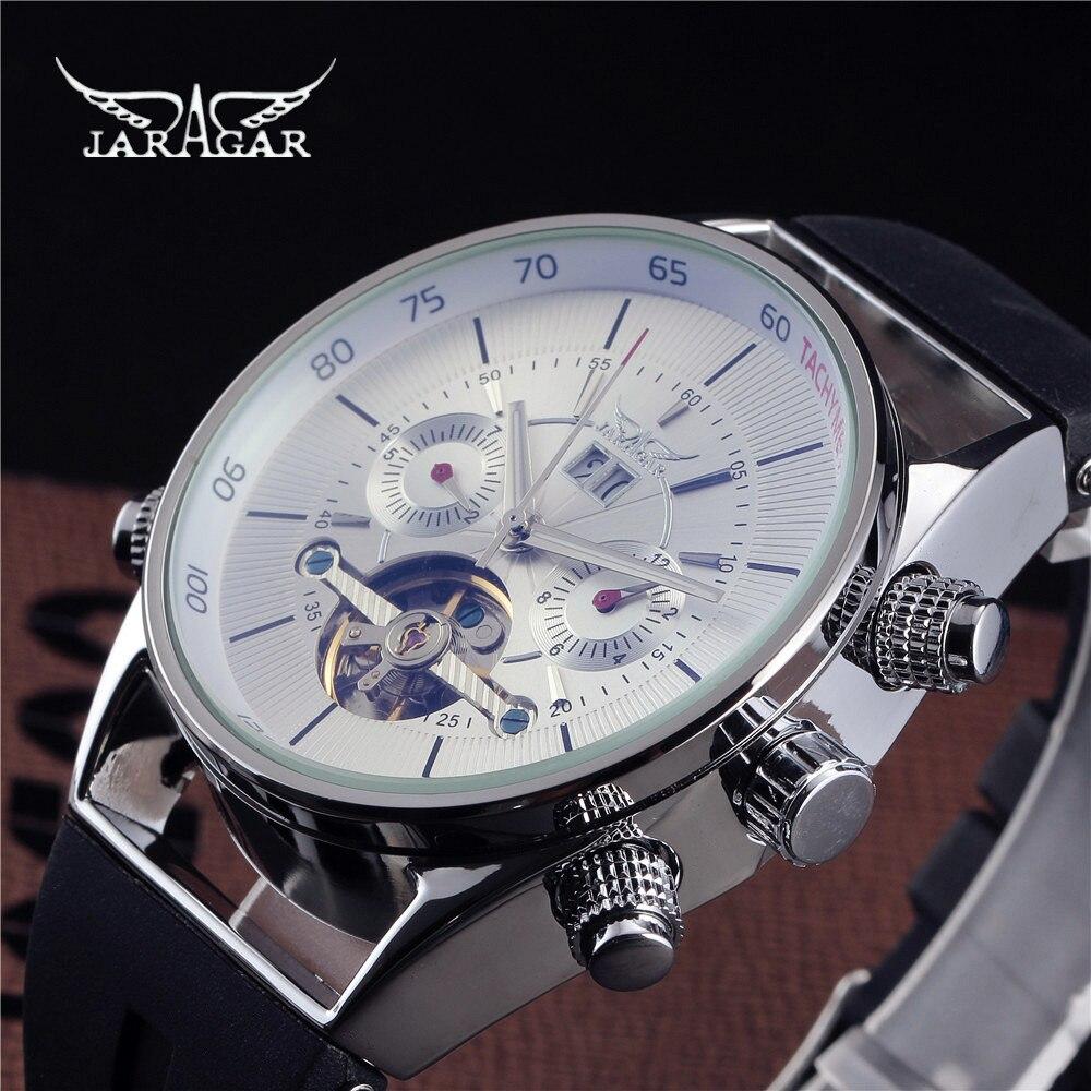 где купить Jaragar Self-winding Clock Tourbillon Automatic Mechanical Rubber Auto Date Men Watch Luxury Sport Watches Army Male Wristwatch по лучшей цене