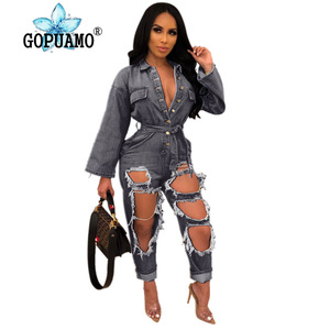Single-Breasted Casual Denim Overall Women Turn Down Collar Hollow Out Washes Jumpsuit Streetwear Full Sleeve Full Length Romper