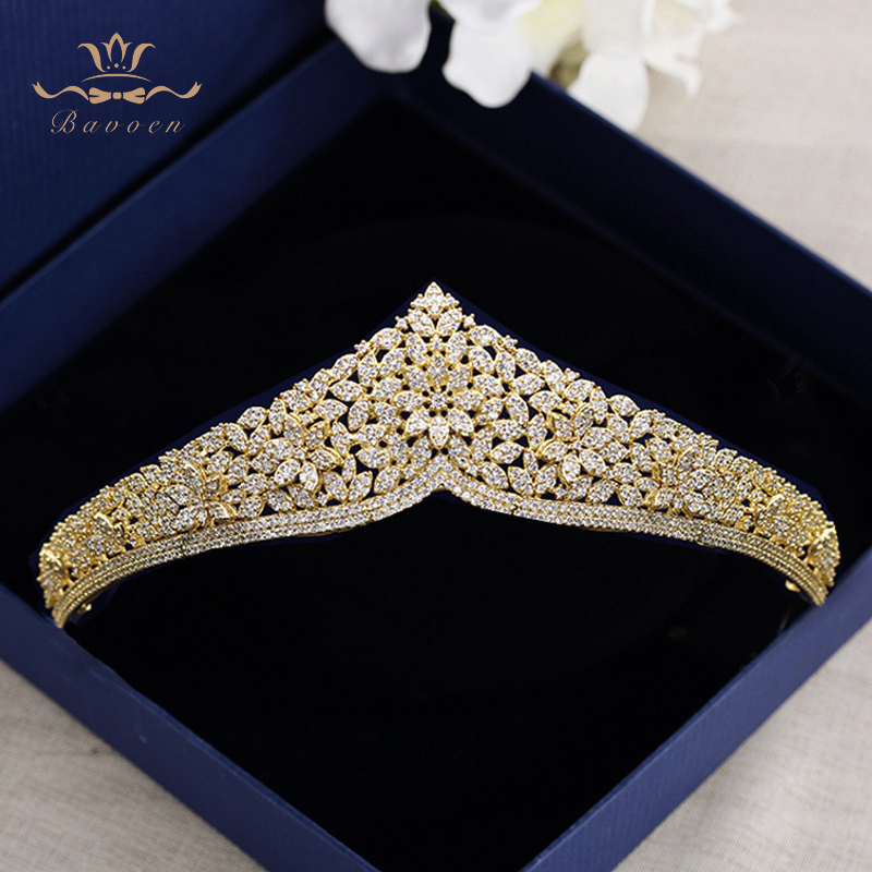 Top Quality European Brides Gold Flower Zircon Hairbands Crystal Tiara Crowns Wedding Hair Accessories Birthday Gift-in Hair Jewelry from Jewelry & Accessories    1
