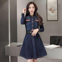 Autumn Long Sleeve Denim Dress Shirt Women Slim Button Down Denim Dress With Pockets A Line Knee Length Midi Dress Casual