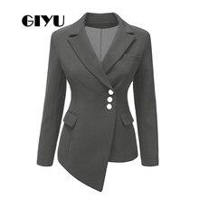 GIYU Asymmetry Women Long Sleeve Blazer Business Jackets Pockets Office Lady Buttons Casual camiseta mujer