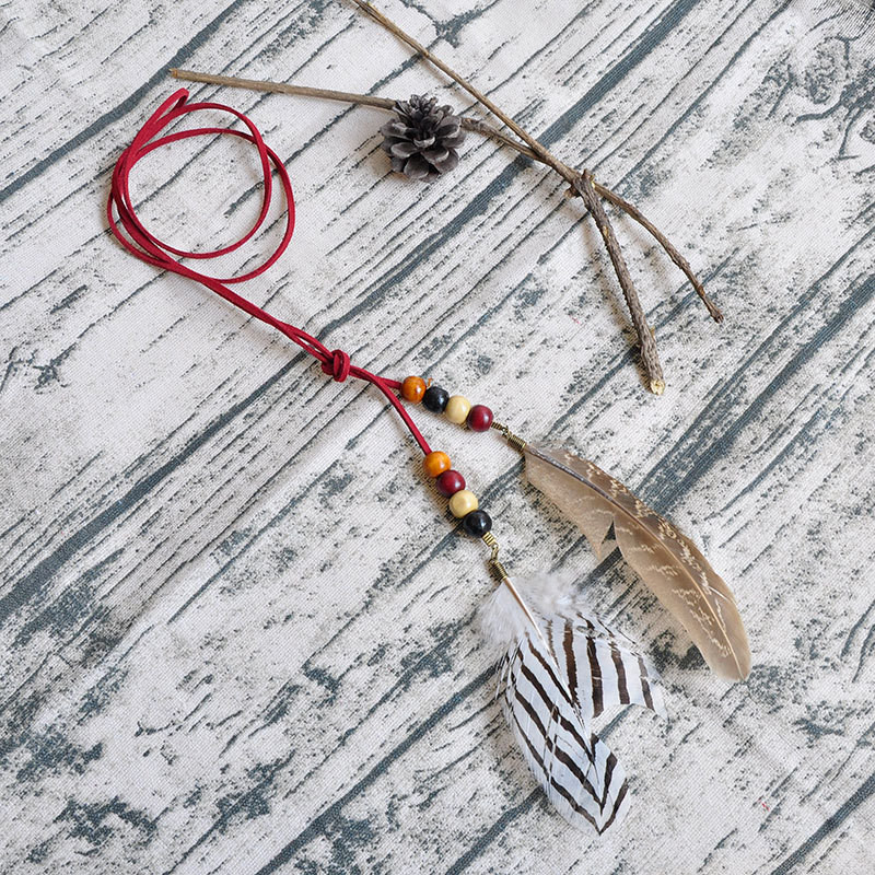 Fashion Bohemian Style Native American Indian Feather Pendant Headband For Women Handmade Rope Chain Hair Accessories