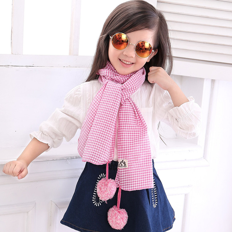 Kids Child Scarf Children Fashion Girls Boys Candy Color Plaid Scarves Cute Hair Ball Wraps Clothing Accessories Free Shipping