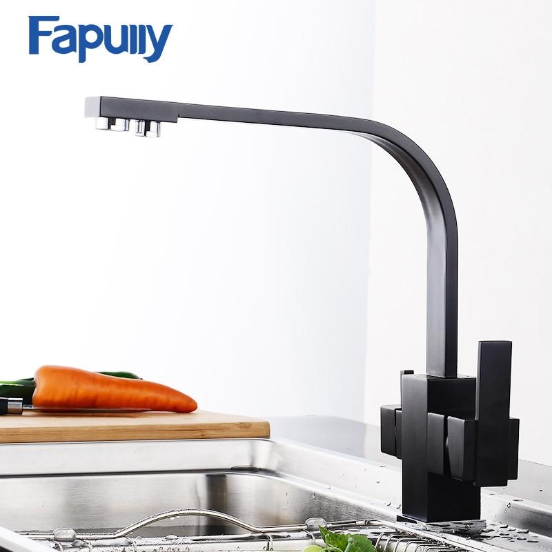 Fapully negro grifo de la cocina moderna filtro de agua 3 de agua potable doble de frío y caliente latón grifo mezclador grifo 573-33