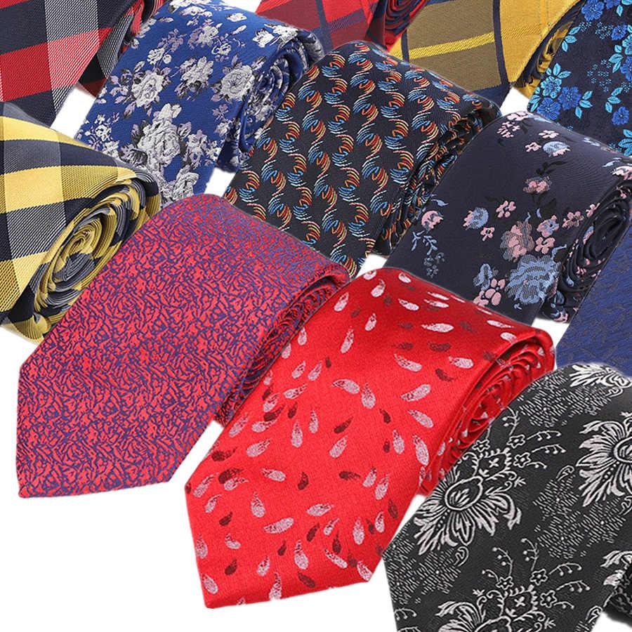 YISHLINE מפעל 7CM קשרי אדום כחול PlaidsTies עבור גברים חתונה מסיבת חולצה חליפת חתן עניבה פוליאסטר משי אקארד
