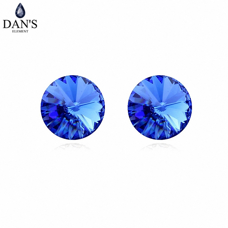 DANS 7 Colors Real Austrian crystals Stud earrings for women Earrings s New Sale Hot Round 96555Blue