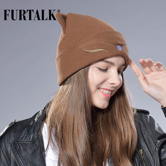 placeholder FURTALK Woman Knitted Baby Hat Wool Cotton Cuff Beanie Hat Ski  Cap Spring Autumn Girls Hats 8c7e73103783