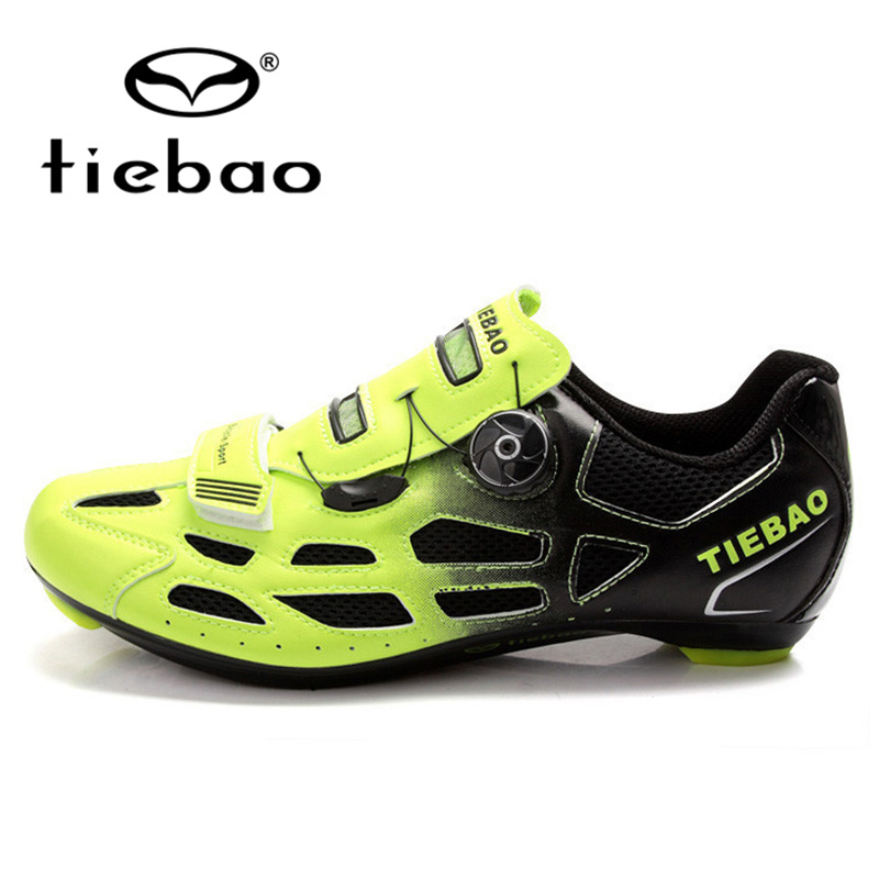 купить TIEBAO Professional Men Women Road Bike Racing Athletic Shoe Bicycle Cycling Shoes Breathable Fast Tuning Knob Laces Sport Shoes недорого