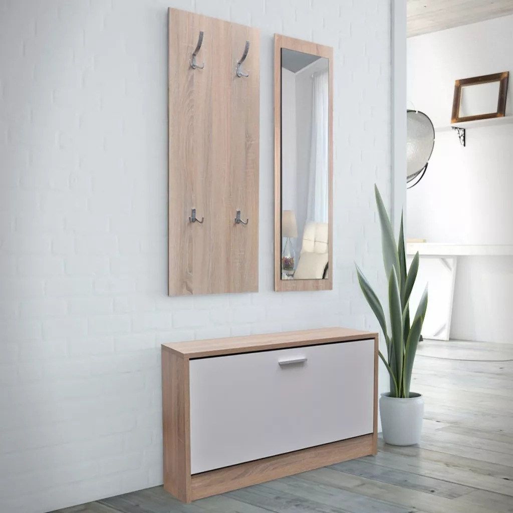 Oak And White 3-In-1 Wooden Shoe Cabinet Set Shoe Cabinet Mirror Coat Rack Easy Assembly Shoe Rack Furniture Shoe Organizer