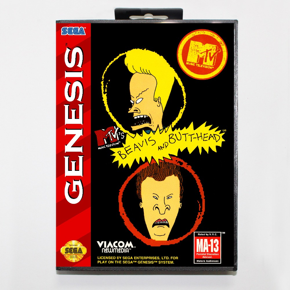 New 16 bit MD game card - beavis and butt-head with Retail box For Sega genesis system