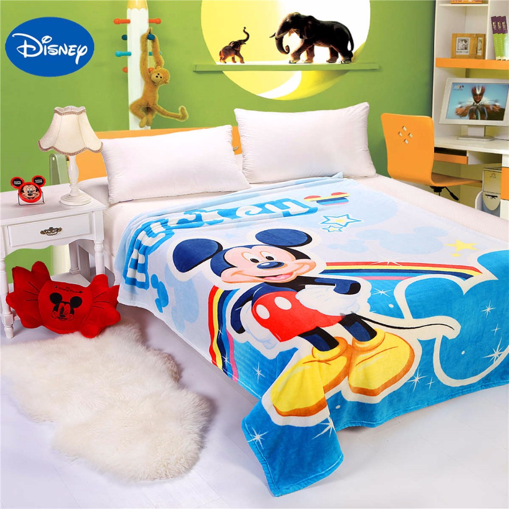blue mickey blanket rainbow star printed bed linens single size high quality coral flannel beddings 150*200cm bedspread girl boy