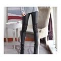 2016 polainas de cuero de imitación de encaje con la venta al por mayor del verano sexy pantalones pantalones elásticos flacas negro otoño y primavera
