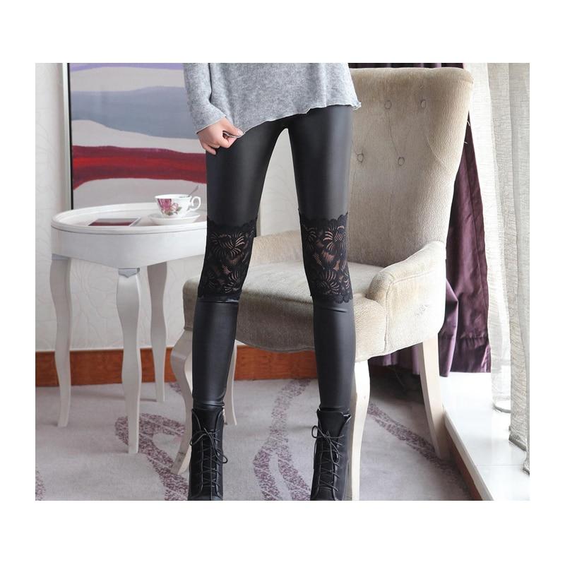 2018 Uued kunstnahast säärised pitsiga hulgimüügiga naised suvised seksikad püksid Skinny veniv püksid must sügis ja kevad
