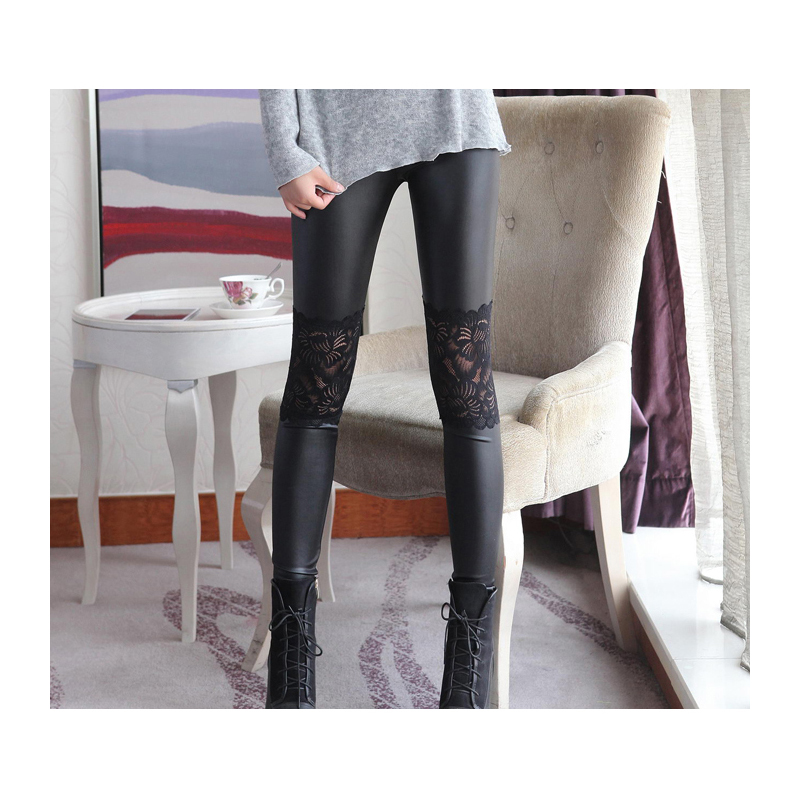 2018 New faux leather   Leggings   with lace wholesale women summer sexy trousers Skinny stretchy pants black autumn & spring