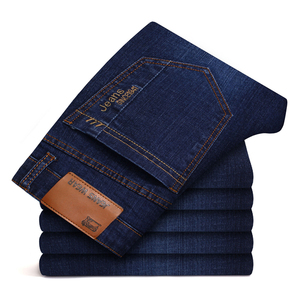 Image 2 - Mens Brand Stretch Jeans 2020 New Business Casual Slim Fit Denim Pants Black Blue Trousers Jeans Male Plus Size 38 40 42