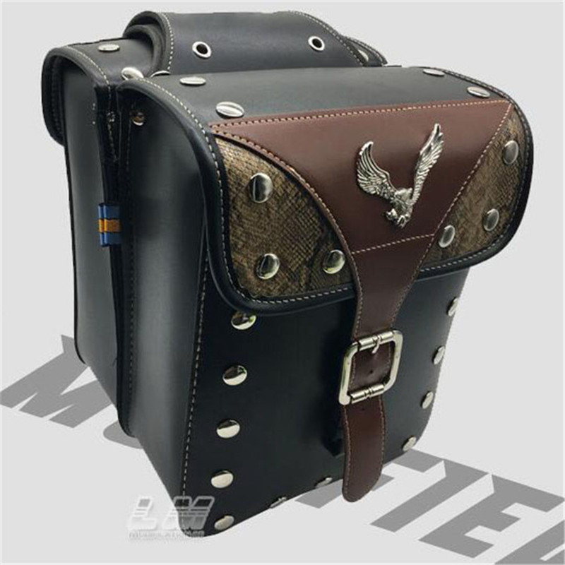 1 Pair Universal Motorcycle Saddle Bags Pu Leather Bags Prince Cruise Scooter Tool Luggage Retro Motorbike Side Bag For Harley