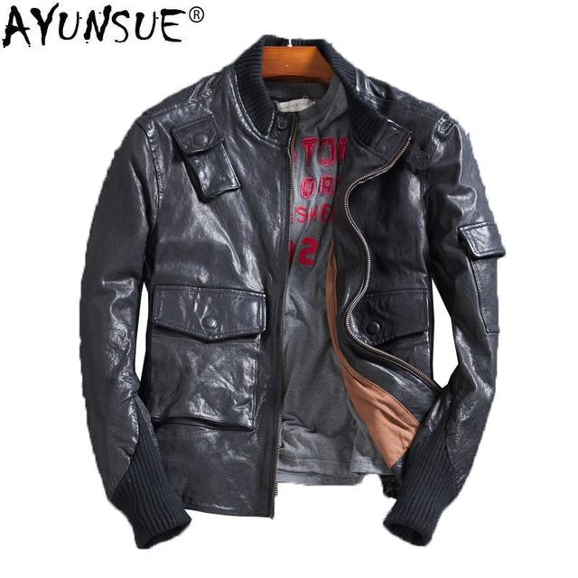 a98453a638a AYUNSUE Genuine Leather Jacket Men Korean Oil Wax Sheepskin Coat for Men  Short Spring Motorcycle Men s Leather Jacket KJ1412