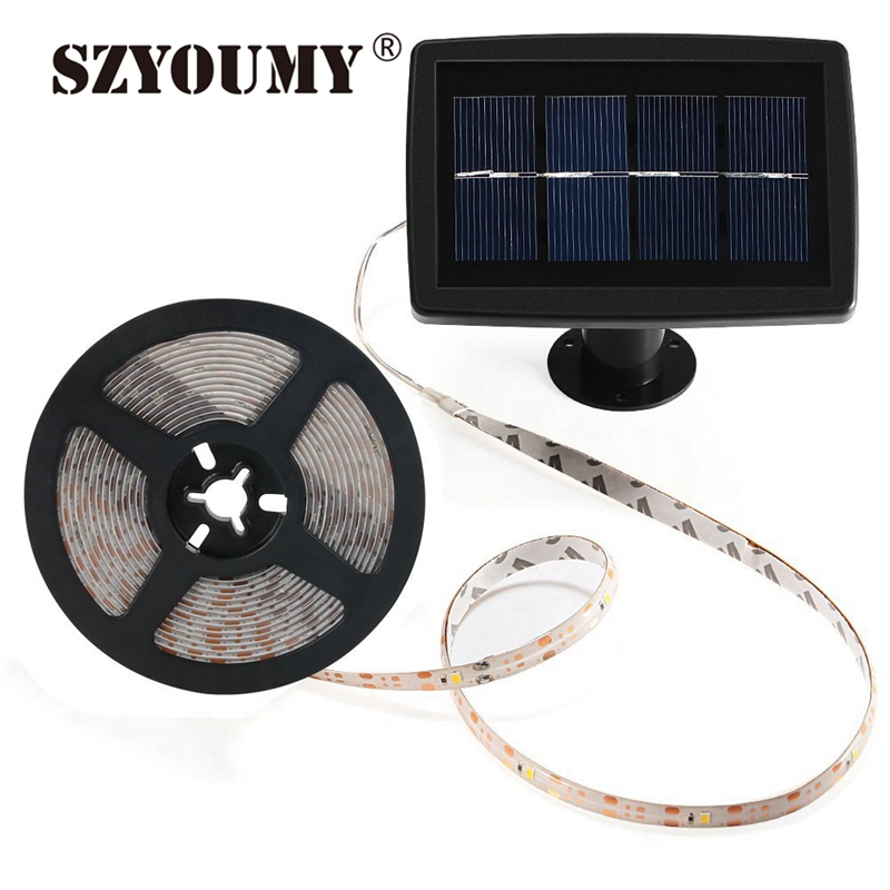 SZYOUMY 5M LED Strip Solar Powered SMD2835 100Leds IP65 Expoy Waterproof Indoor Outdoor Decoration Fairy Light Xmas,Party,Garden liweek 0 4w 10lm 100 led rgb solar powered xmas party indoor outdoor fairy string light 17 meter