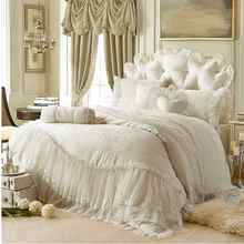 Beige Korean Princess bedding set cotton 4/6pcs Lace Ruffles Jacquard uvet cover bedclothes bed sheet pillowcases king queen(China)