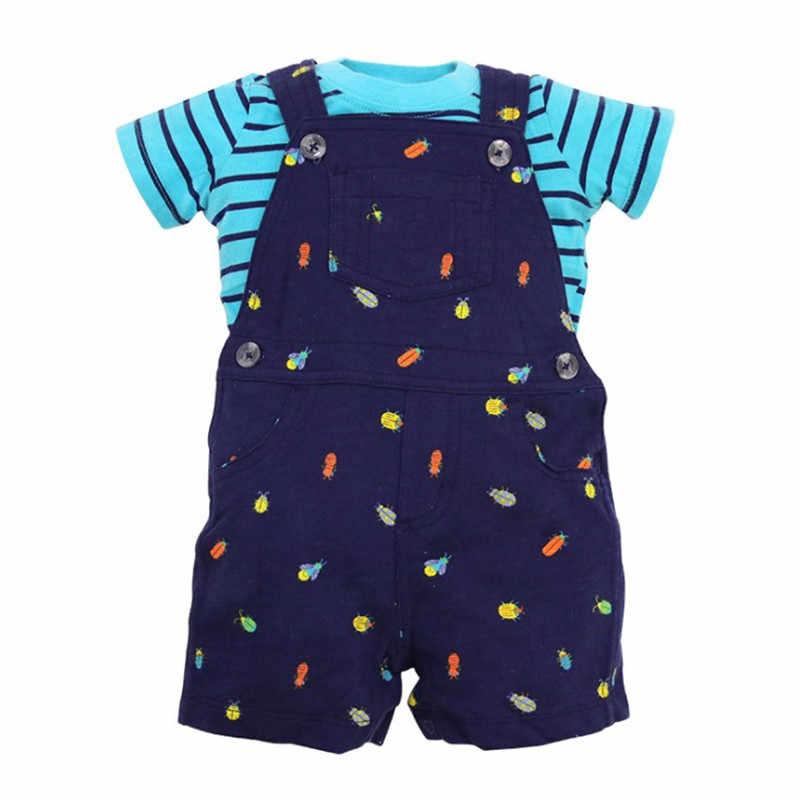 2018 bebes baby jongens 2 stks/sets pasgeboren baby kids zomer shorts meisjes T-shirt Riem aaien kleding drop shipping Anker Wave punt