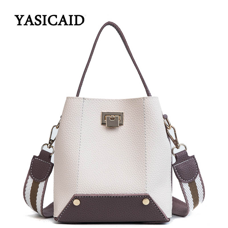 Women Bucket Bag Female PU Leather Wide Shoulder Straps Handbags and Purses Ladies Small Crossbody Bags for Women Shoulder Bags