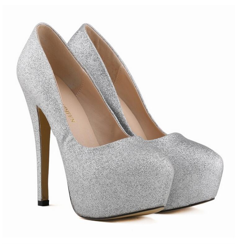 Plus Size 35-42 Ladies Shoes Women Glitter Gorgeous High Heels Platforms  Bridal Wedding Shoes Silver Sexy Ladies Star Heels 66 44cc68b27602