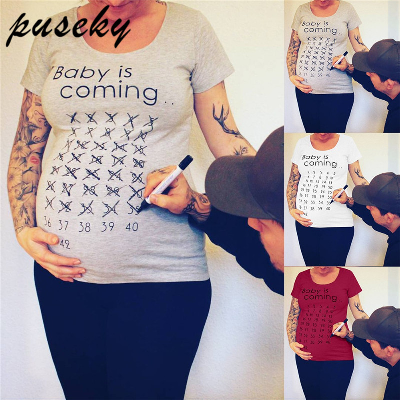 Puseky Premama Maternity T Shirts Premama Baby Is Coming English Letter T Shirt Summer Female Pregnant Women Tees