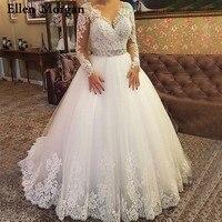 Плюс Размеры одежда с длинным рукавом свадебные платья для Для женщин Кружева Тюль V шеи пол Длина индивидуальный заказ бальные платья свад