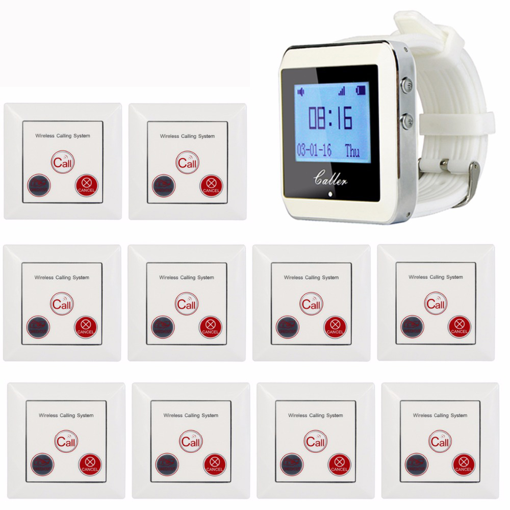 Tivdio Wireless Calling System Restaurant Paging System with 1 Watch Receiver + 10 Call Button F3288B-F4418B@10 waiter calling system watch pager service button wireless call bell hospital restaurant paging 3 watch 33 call button